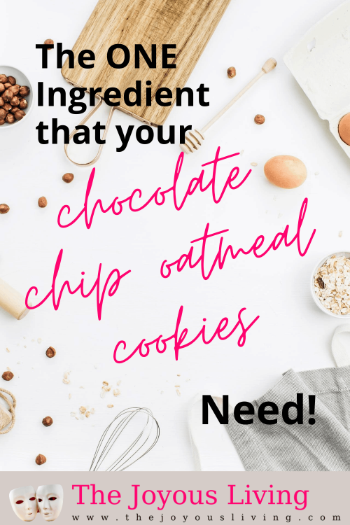 Discover my family's secret ingredient for oatmeal chocolate chip cookies! What one ingredient makes all the different to cookies and pancakes and waffles? Recipe for oatmeal chocolate chip cookies. #oatmealchocolatechicookies #thejoyousliving