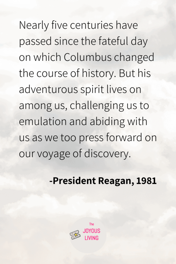 The Joyous Living: Ronald Reagan's quote about Columbus Day