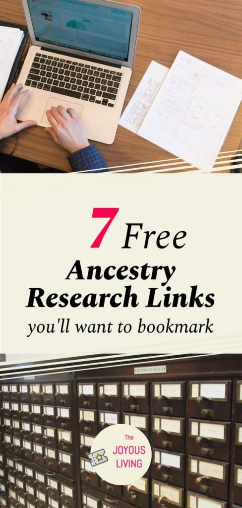 7 free ancestry research links to bookmark #ancestry #atozchallenge #free #genealogy #thejoyousliving