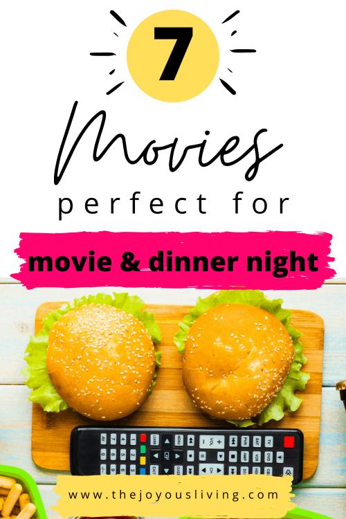Movies perfect for movie and dinner night. Movie dinner ideas. Movie dinner theme night. Family movie night suggestions. Movies about food. Dinner movie night suggestions. Themed dinner movie suggestions. #dinnermovie #moviestowatch #foodmovies #thejoyousliving