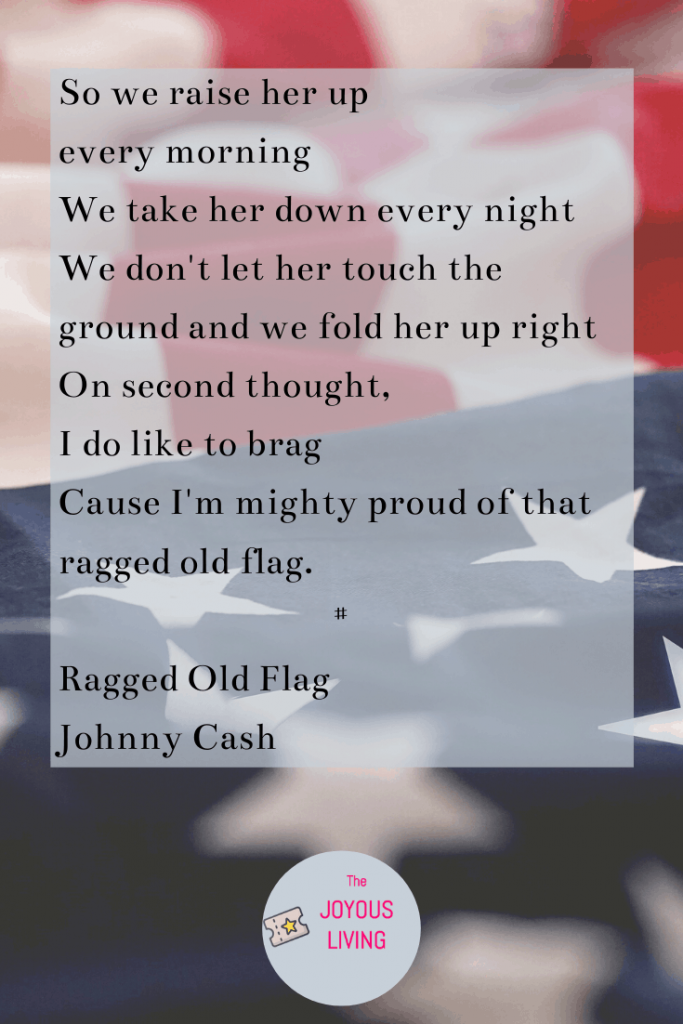 7 Patriotic Song Choices #patriotic #songs #music #lyrics #raggedoldflag #flag #america #americanflag #johnnycash #flagday #fourthofjuly #holidays #thejoyousliving