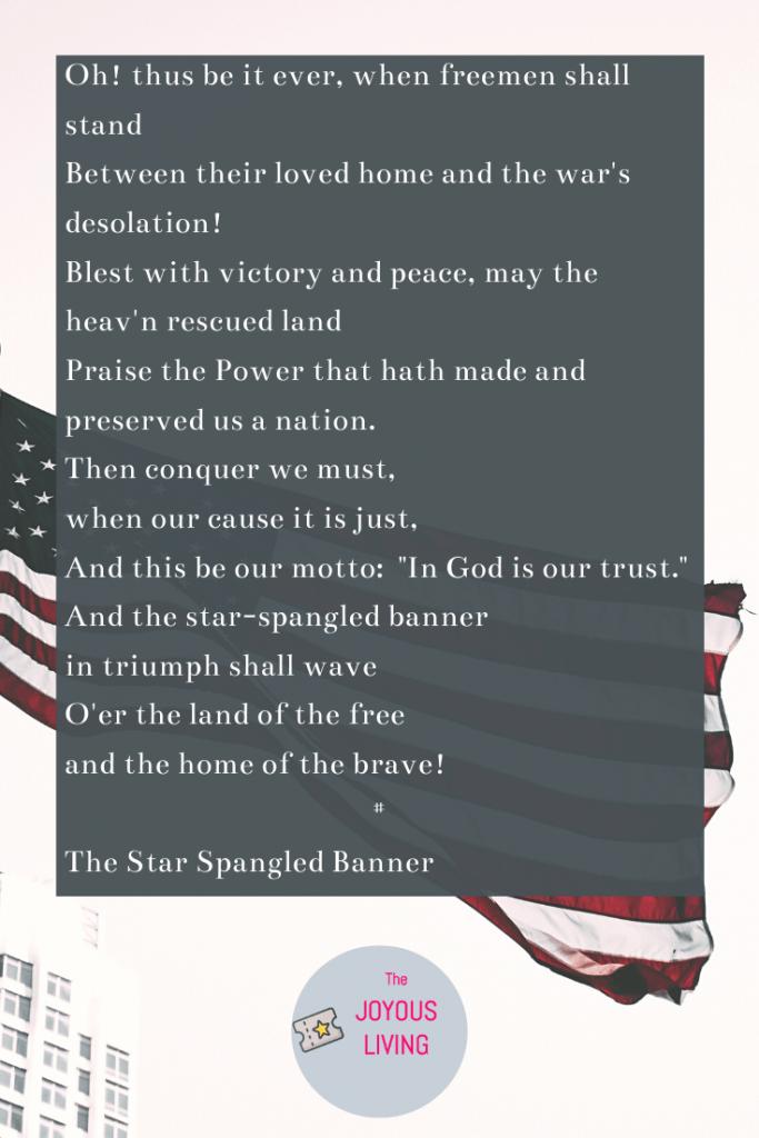 7 Patriotic Songs for Summer #starspangledbanner #patriotic #america #whitneyhouston #music #lyrics #flagday #fourthofjuly #veteransday #holiday #thejoyousliving