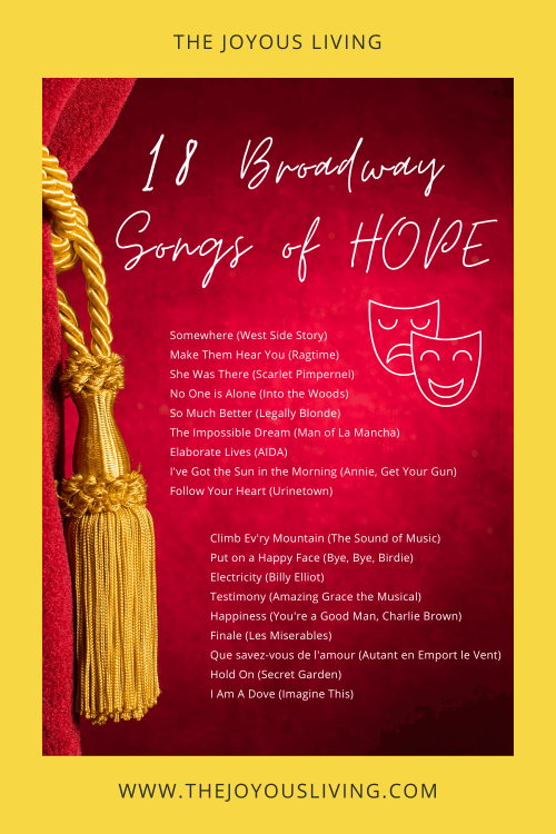 18 broadway songs of hope. Playlist of broadway songs. 18 songs of hope. Broadway song recommendations. #playlist #musicplaylist #songsofhope #broadwaymusic #thejoyousliving