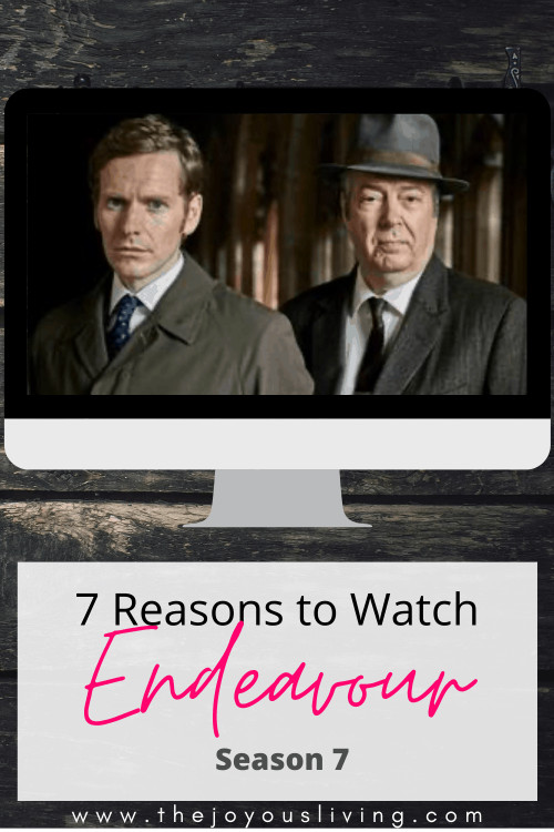 Seven reasons to watch Endeavour Season 7. Endeavour Season 7 is airing on PBS in the United States. The prequel to Inspector Morse and Inspector Lewis, Endeavour, is now in its seventh season on PBS. Shaun Evans and Les Miserables' Roger Allam star in the British Drama Endeavour about Oxford police officers in the 1960s and 1970s. #endeavour #pbs #masterpiece #inspectormorse #morse #shaunevans #rogerallam #perioddramas #britishdramas #whattowatch #thejoyousliving