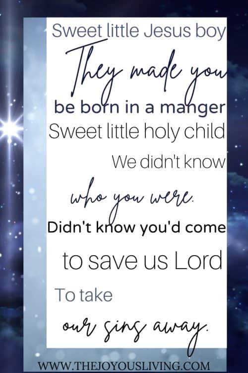 Sweet Little Jesus Boy. Christmas Lyrics.