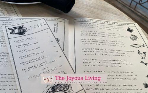 arc restaurants food and libations menu